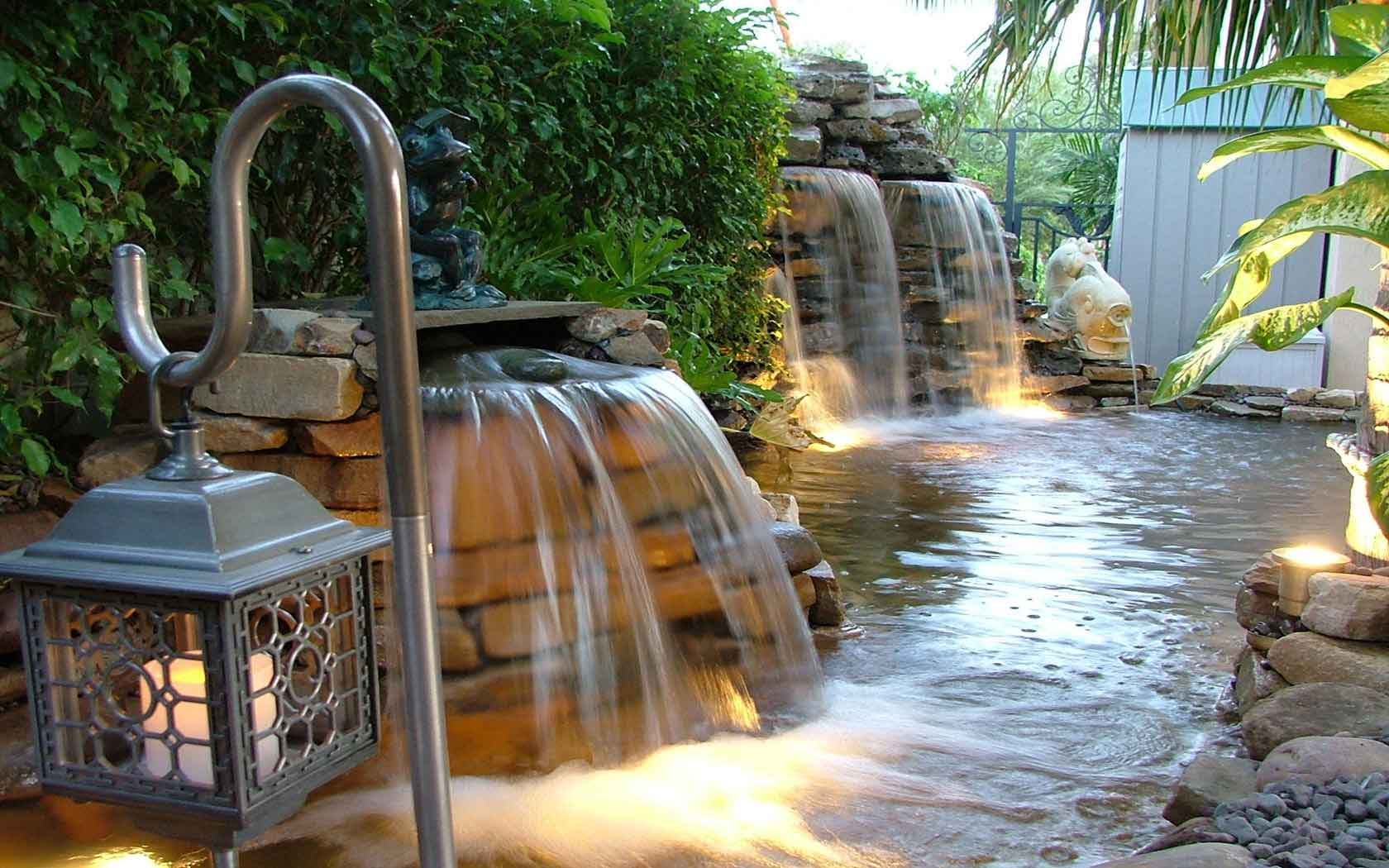 Lagoon falls for Koi pond waterfall